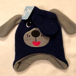 Winter Toddler Boys Puppy Dog Hat w/ Mittens